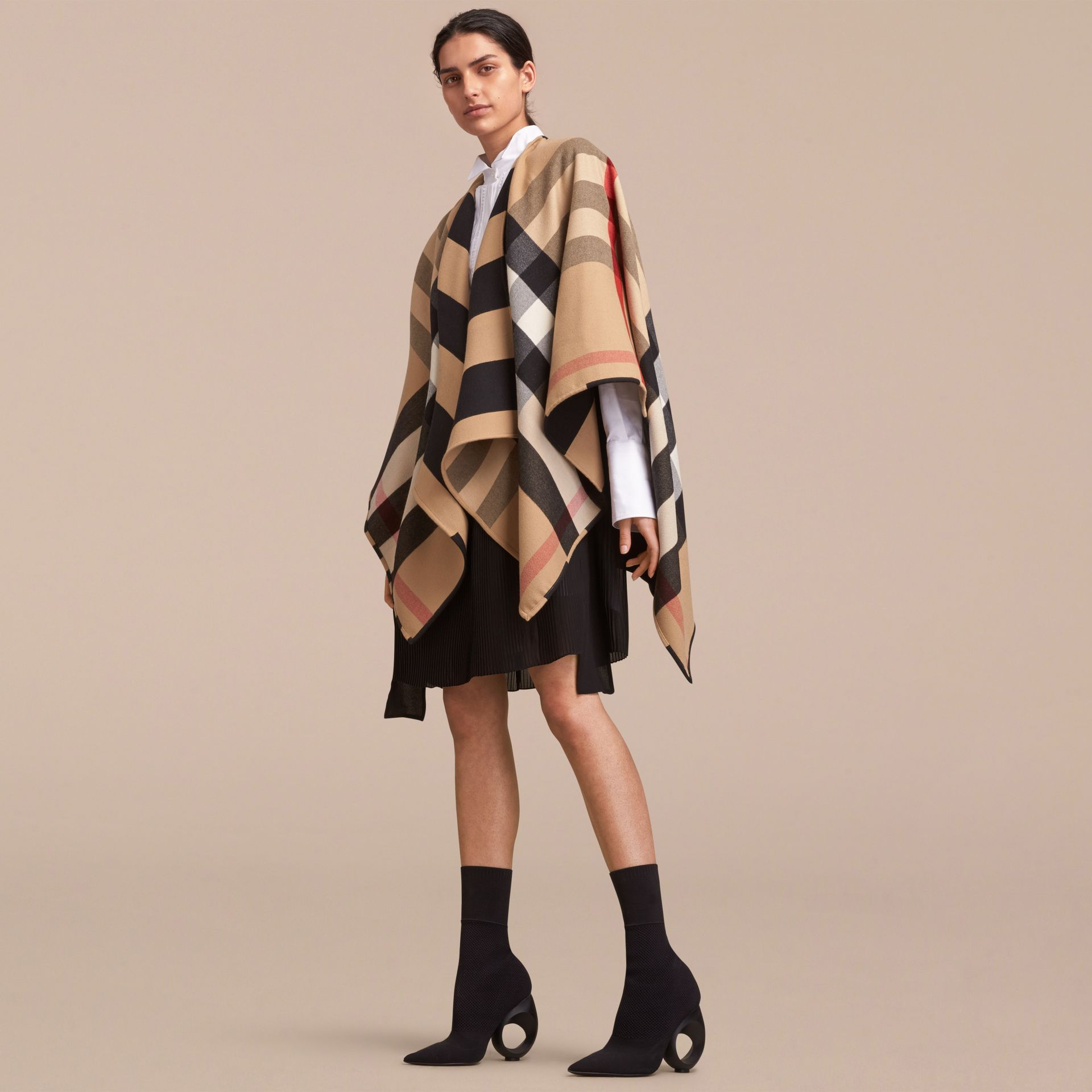 Reversible Stripe and Check Merino Wool Poncho in Camel - Women | Burberry - gallery image 6