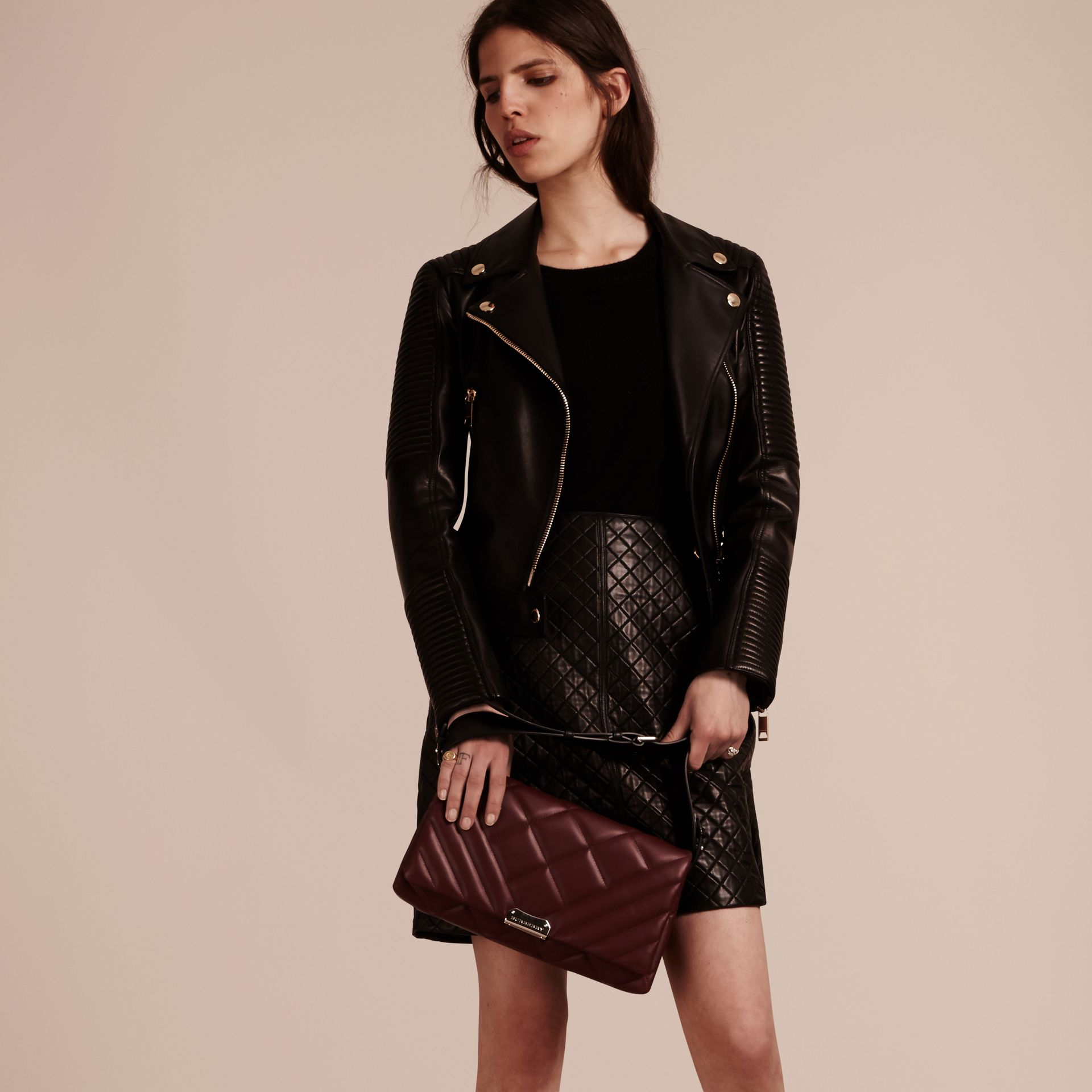Dark damson Medium Quilted Leather and House Check Clutch Bag - gallery image 3