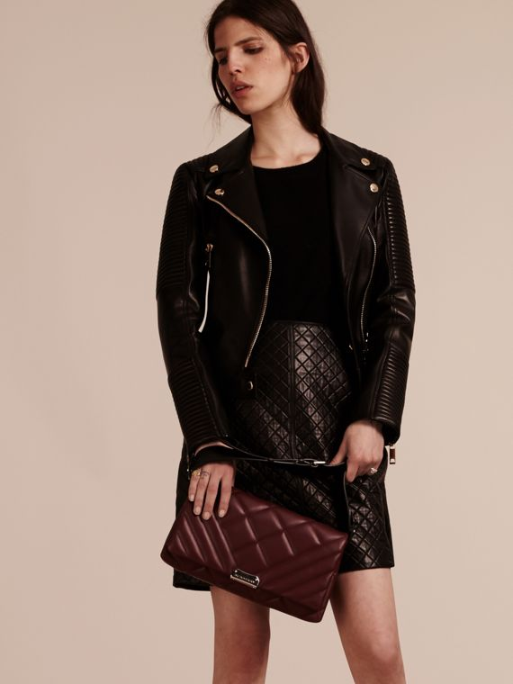 Dark damson Medium Quilted Leather and House Check Clutch Bag - cell image 2