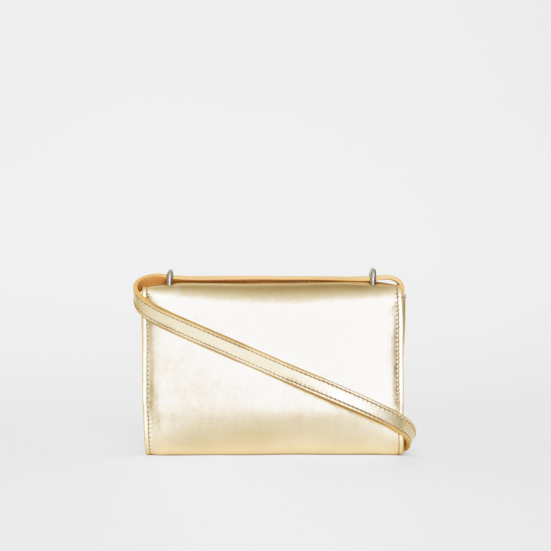 Embossed Crest Metallic Leather Wallet with Detachable Strap in Gold - Women | Burberry United States - gallery image 5
