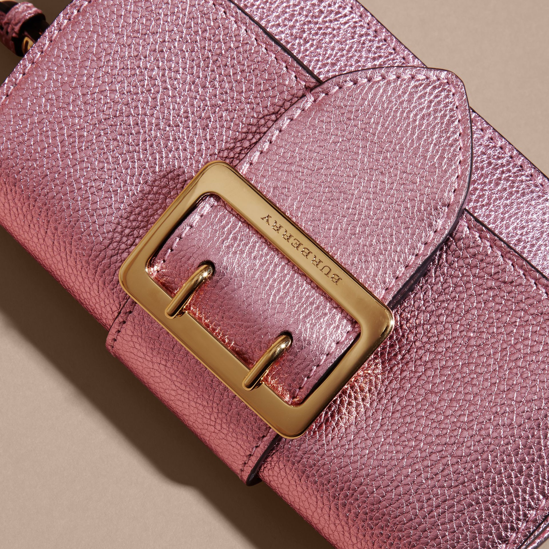 The Mini Buckle Bag in Metallic Grainy Leather in Pale Orchid - gallery image 2