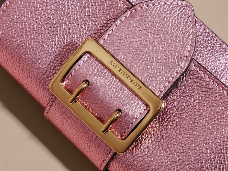 The Mini Buckle Bag in Metallic Grainy Leather in Pale Orchid - cell image 1