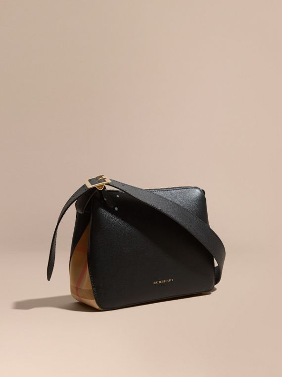 Buckle Detail Leather and House Check Crossbody Bag in Black
