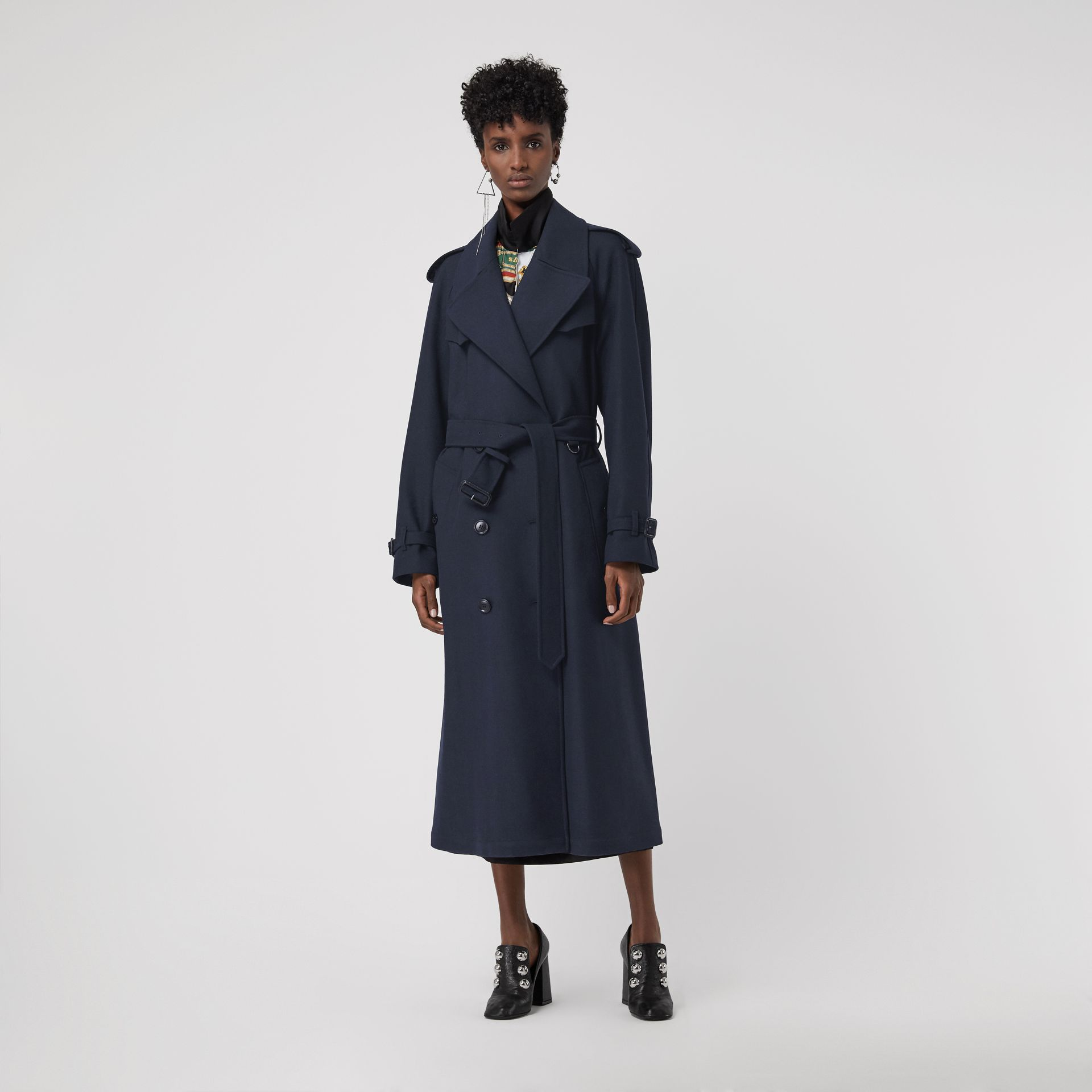 Herringbone Wool Blend Trench Coat in Navy - Women | Burberry - gallery image 0
