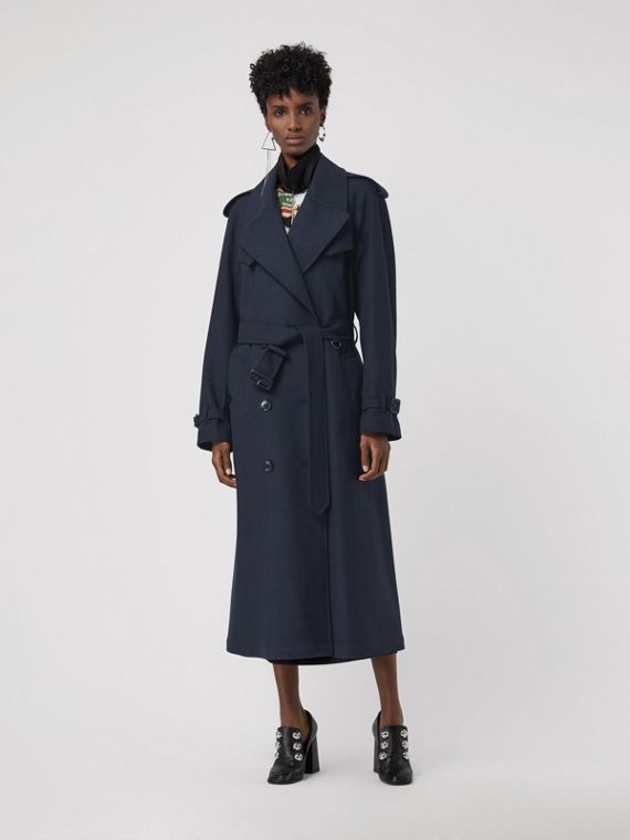 Herringbone Wool Blend Trench Coat in Navy