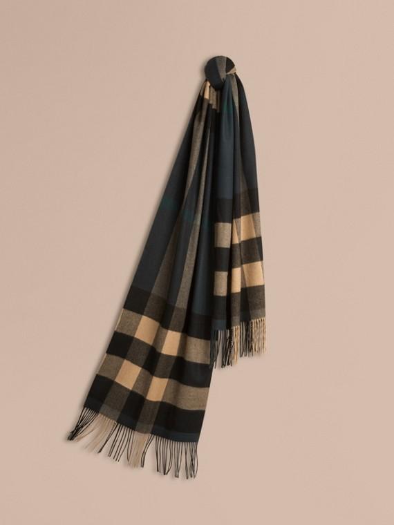 Écharpe en cachemire à motif check surdimensionné Vert Sombre/camel