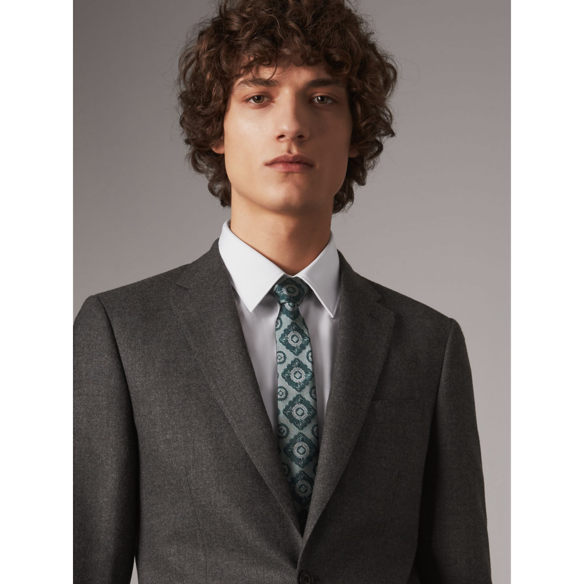 Slim Cut Tiled Floral Silk Jacquard Tie in Cyan Green - Men | Burberry - gallery image 3
