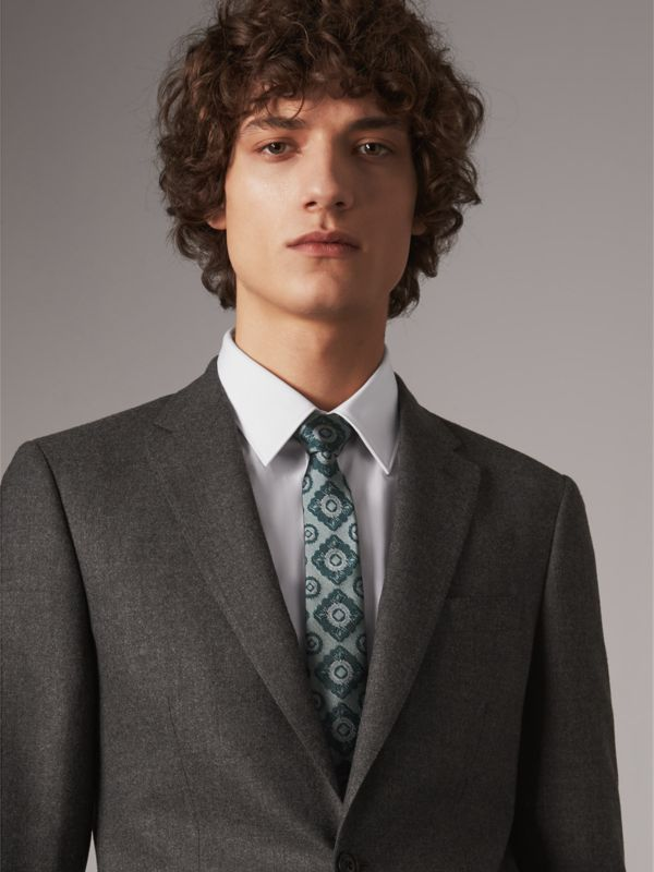 Slim Cut Tiled Floral Silk Jacquard Tie in Cyan Green - Men | Burberry - cell image 2