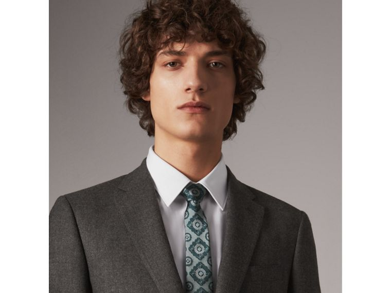 Slim Cut Tiled Floral Silk Jacquard Tie in Cyan Green - Men | Burberry United States - cell image 2