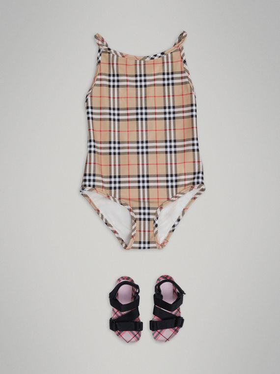Vintage Check One-piece Swimsuit in Camel - Girl | Burberry United Kingdom - cell image 2