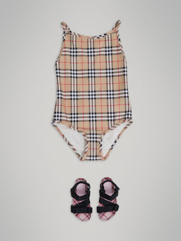Vintage Check One-piece Swimsuit in Camel - Girl | Burberry - cell image 2