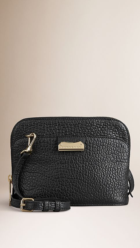 Black Small Signature Grain Leather Crossbody Bag - Image 1