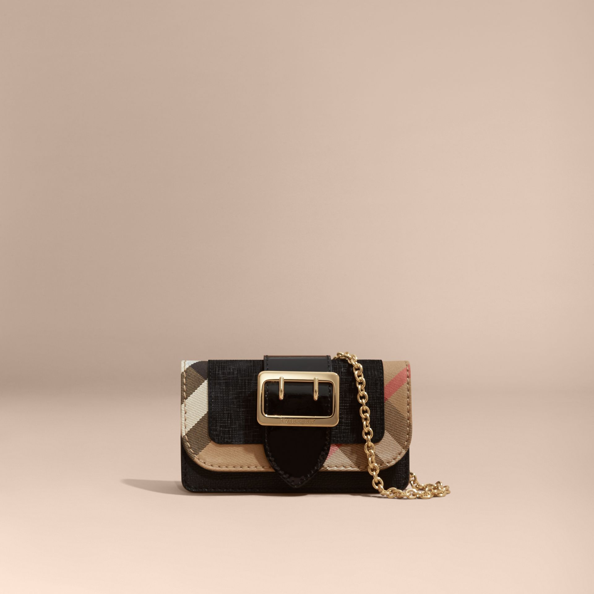 Black The Mini Buckle Bag in Leather and House Check Black - gallery image 9