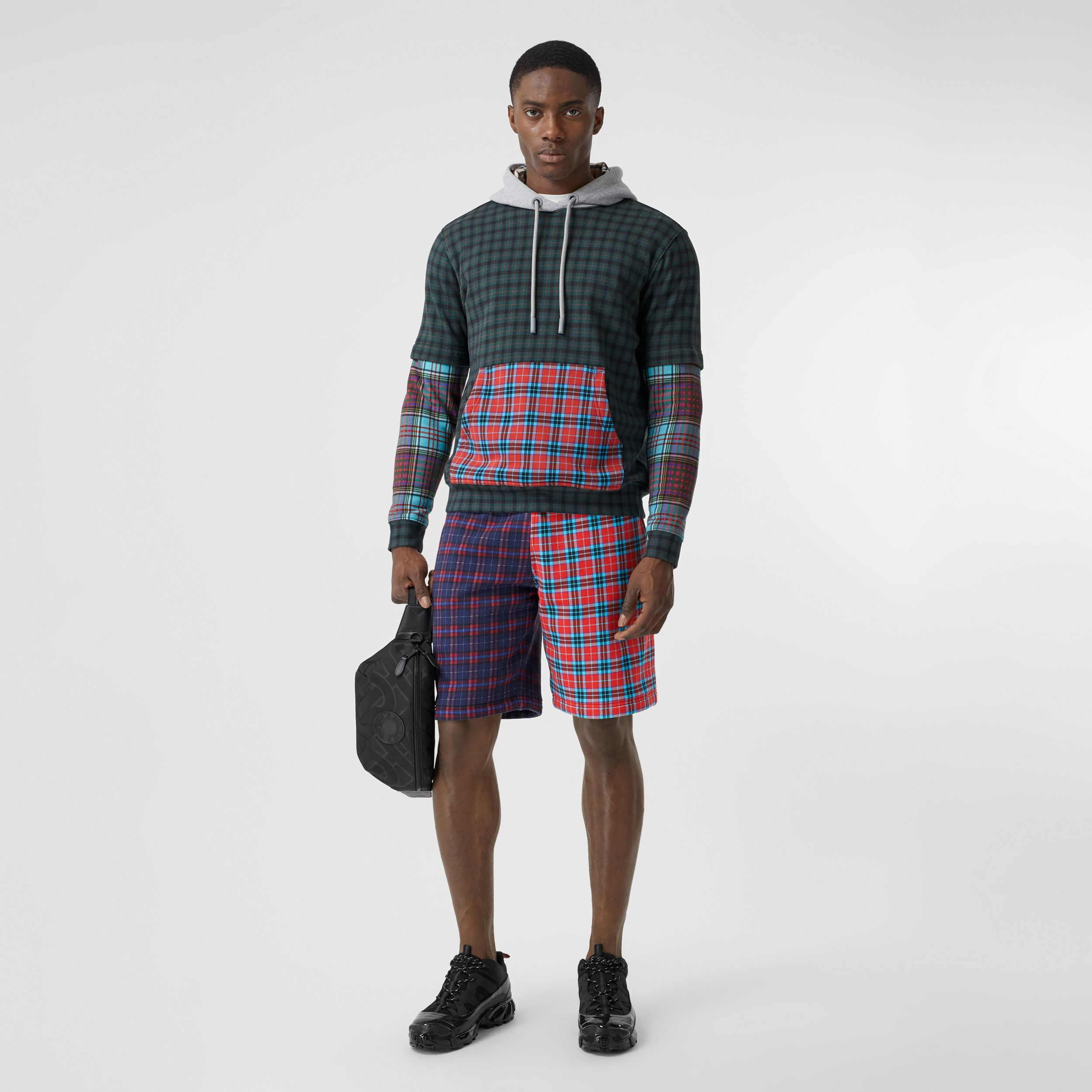 Patchwork Check Cotton Blend Drawcord Shorts in Navy - Men | Burberry - 1