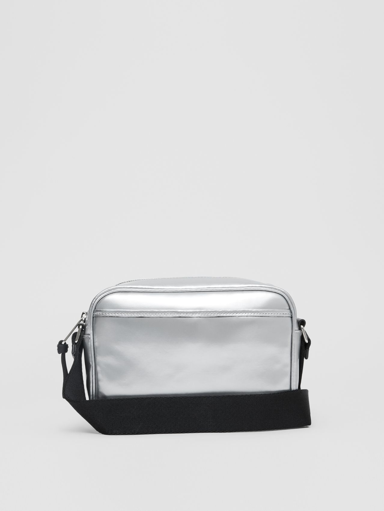 Metallic Coated Canvas Crossbody Bag in Silver