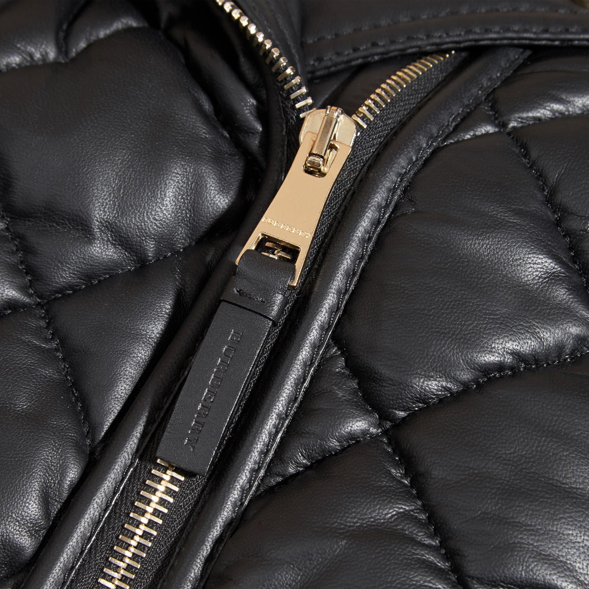 Black Quilted Lambskin Biker Jacket - gallery image 2