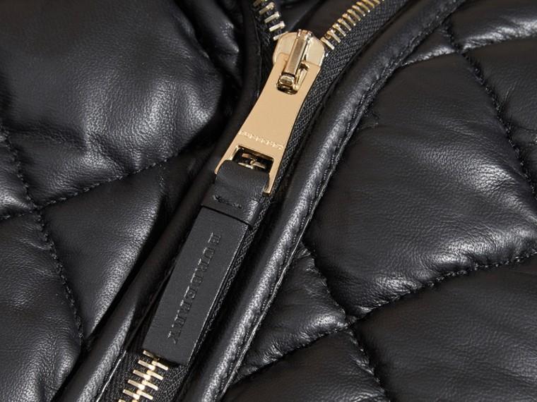 Черный Стеганая байкерская куртка из кожи ягненка - cell image 1