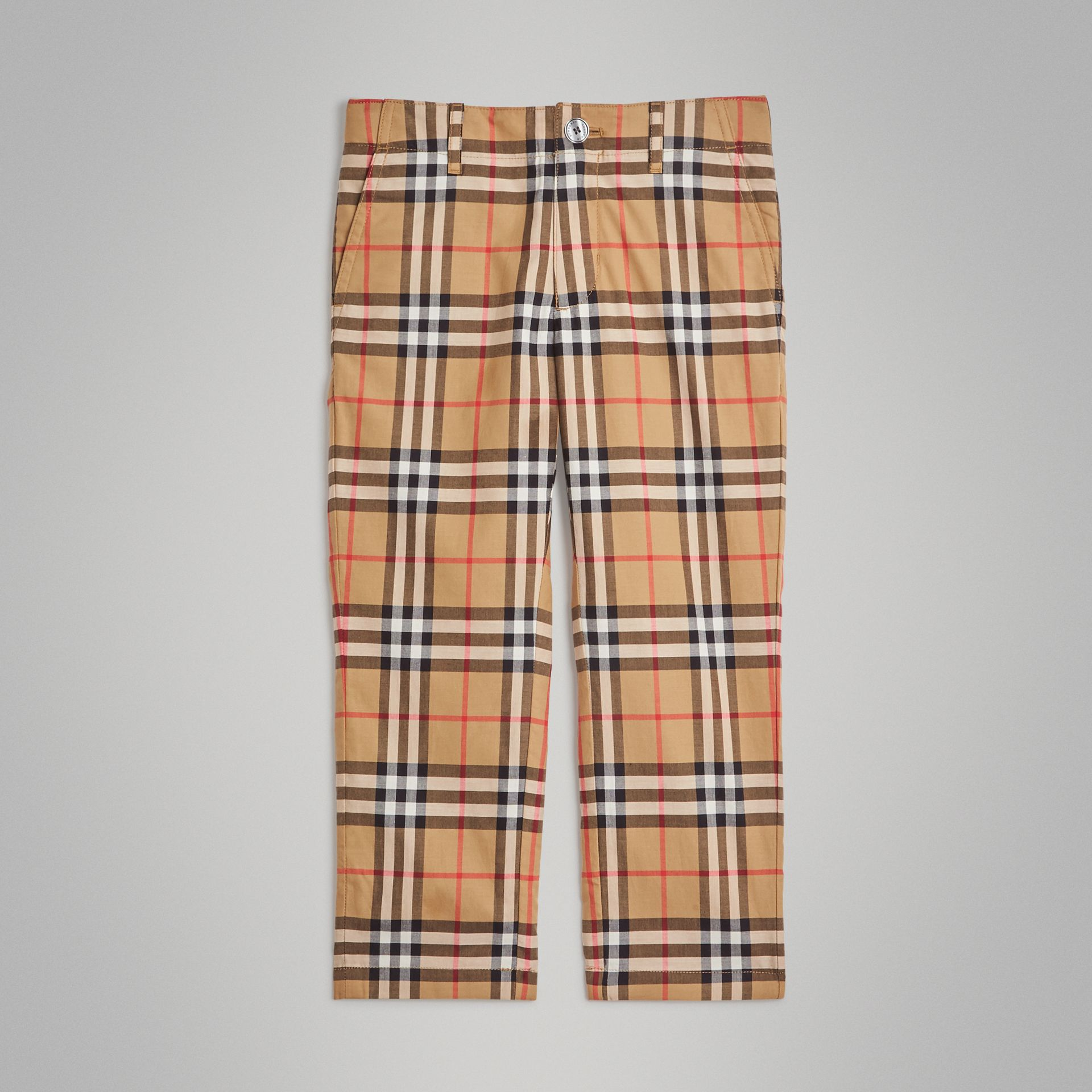 Vintage Check Cotton Tailored Trousers in Antique Yellow | Burberry - gallery image 0
