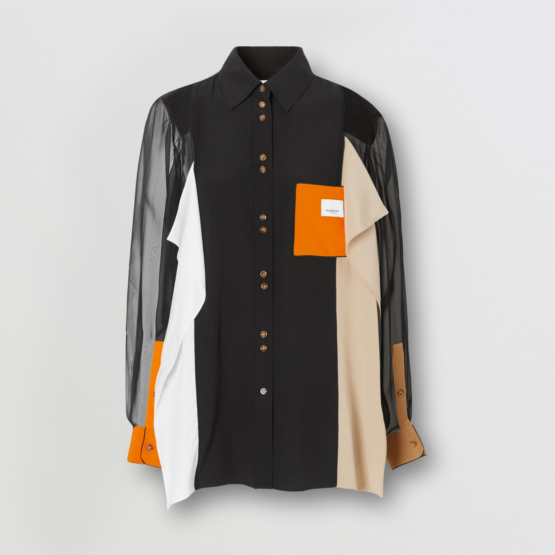 Colour Block Silk Shirt in Black - Women | Burberry - gallery image 3