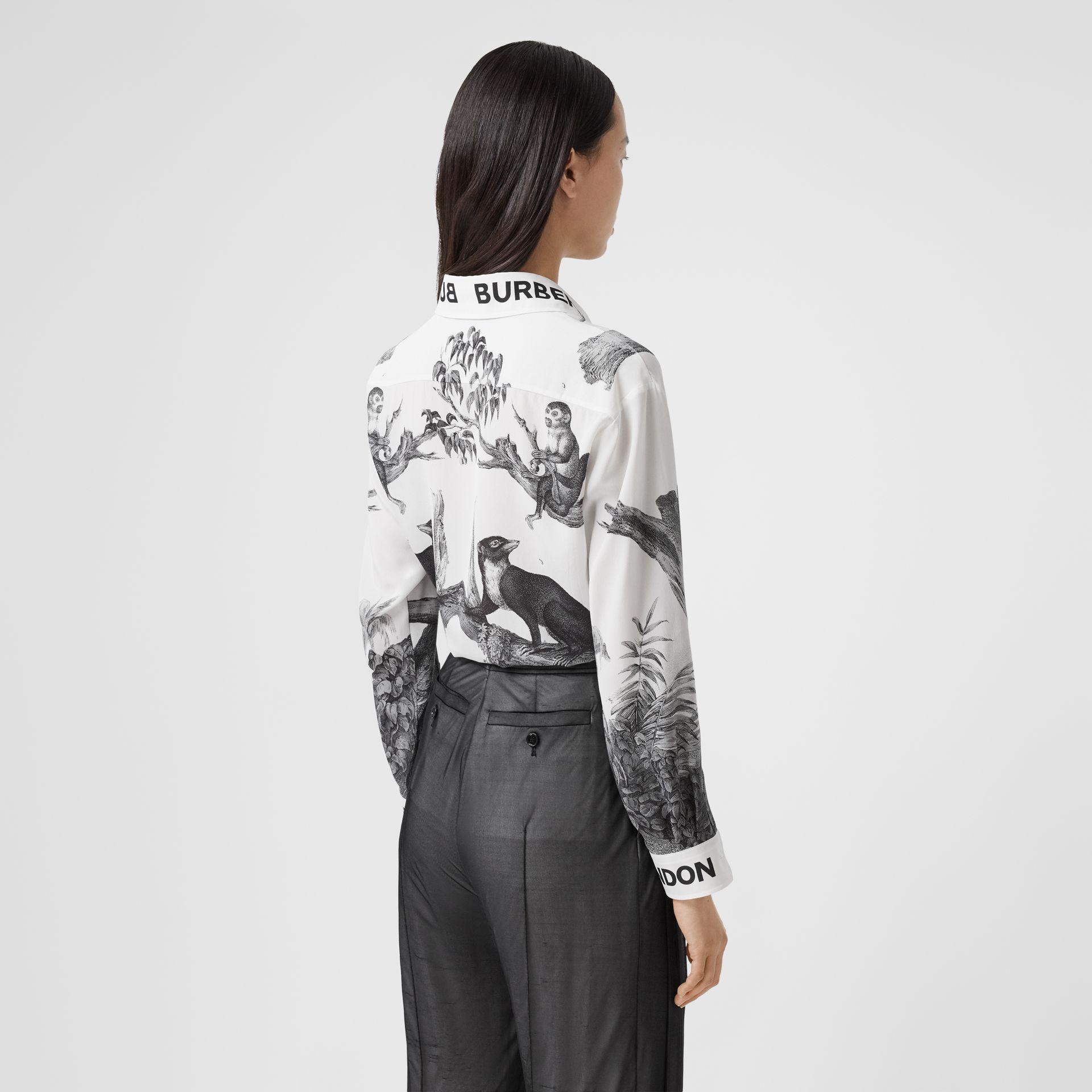 Montage Print Silk Shirt in Monochrome | Burberry - gallery image 2