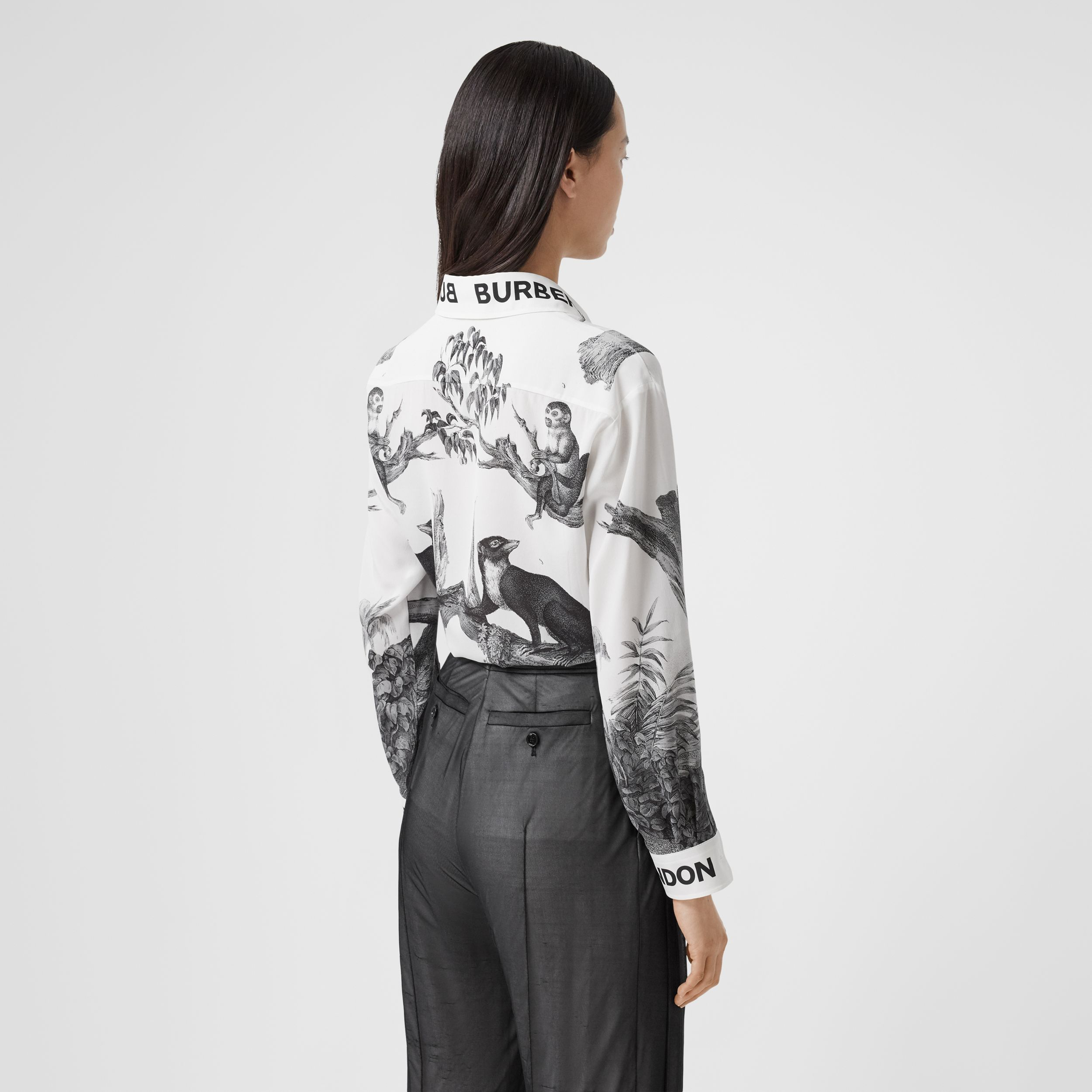 Montage Print Silk Shirt in Monochrome - Women | Burberry - 3