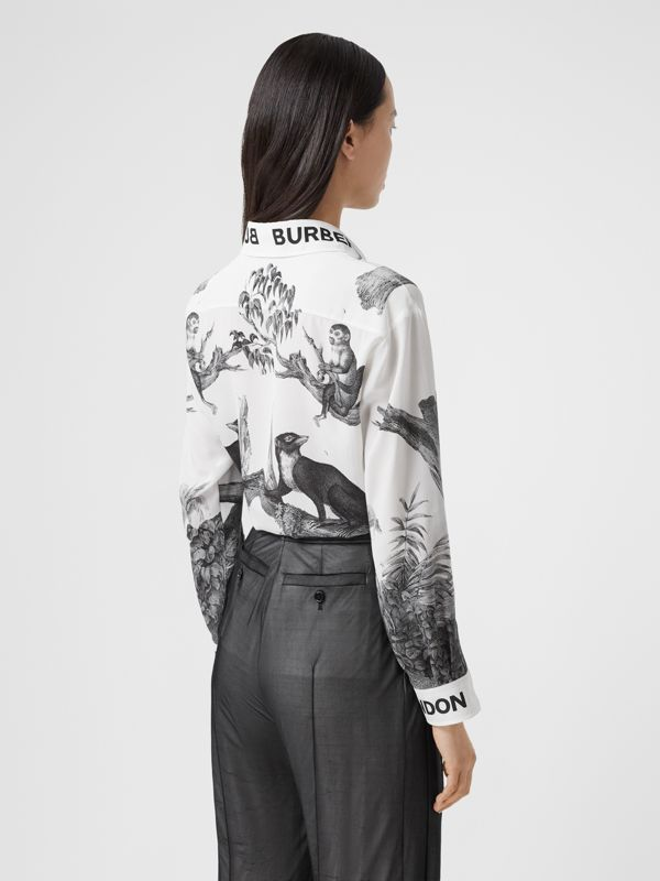 Montage Print Silk Shirt in Monochrome | Burberry - cell image 2