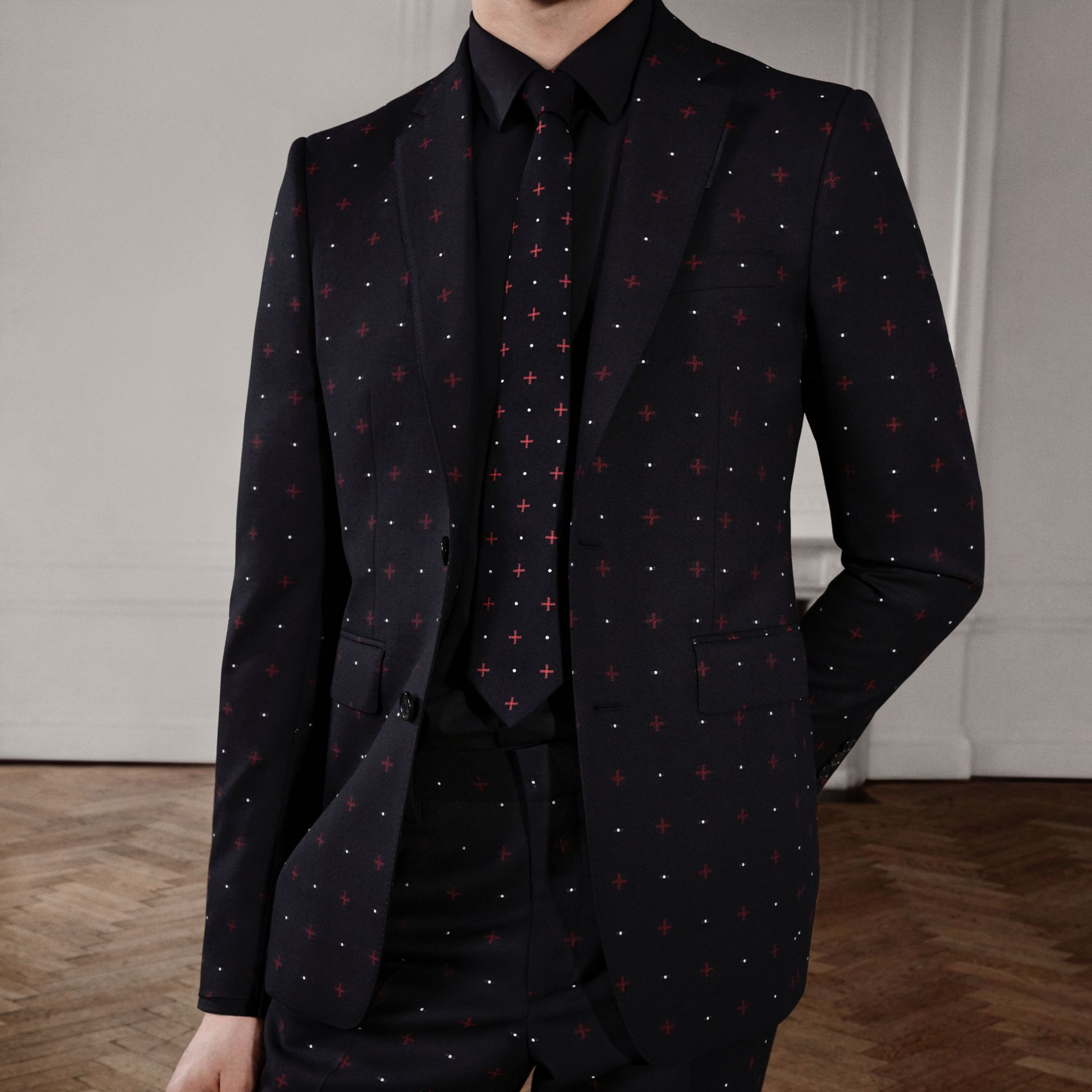 English Fit Fil Coupé Wool Cotton Tailored Jacket in Black - Men | Burberry - gallery image 1
