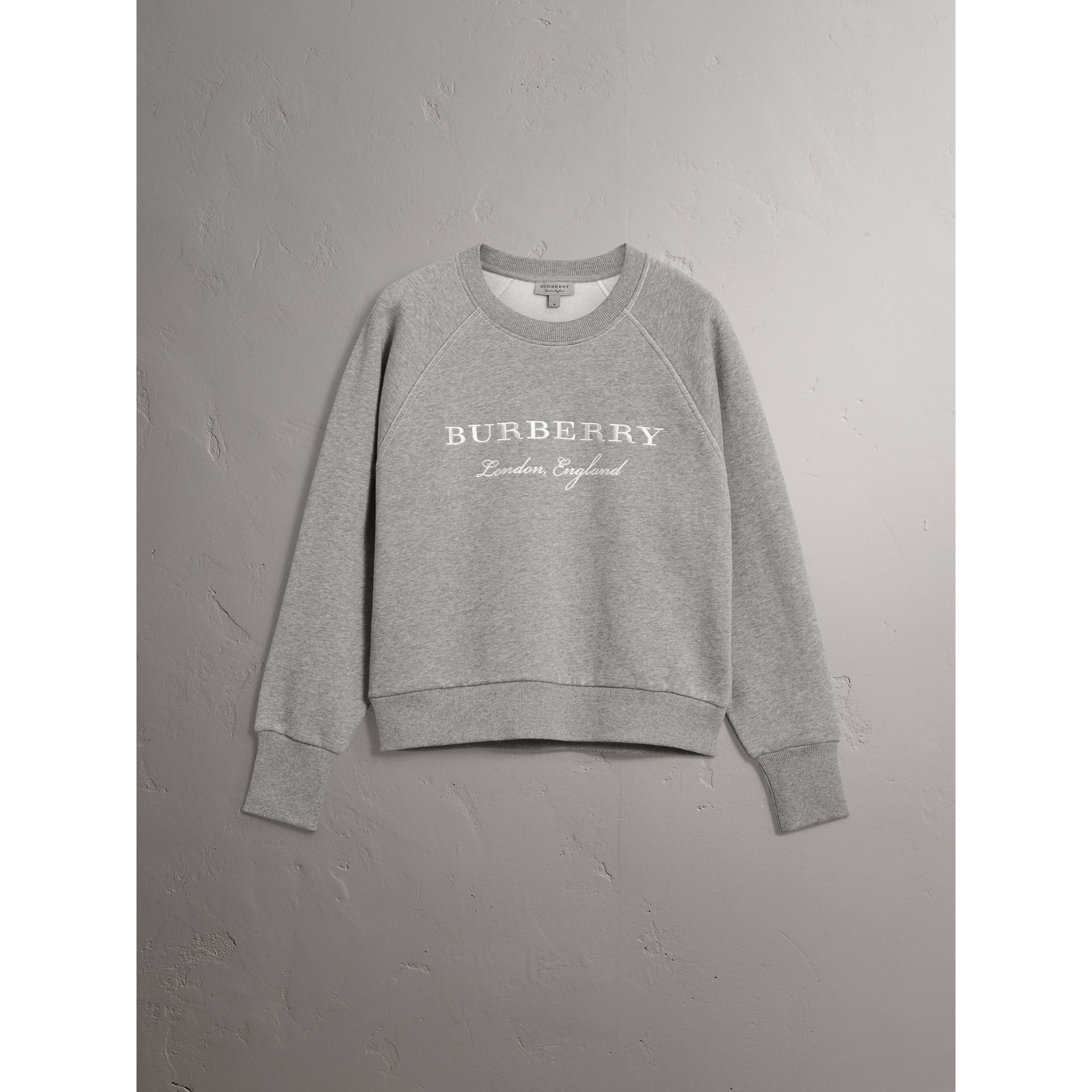 Embroidered Cotton Blend Jersey Sweatshirt in Pale Grey Melange - Women | Burberry United Kingdom - gallery image 3