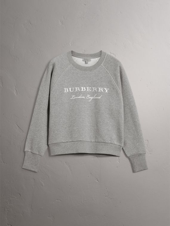 Embroidered Cotton Blend Jersey Sweatshirt in Pale Grey Melange - Women | Burberry Australia - cell image 3