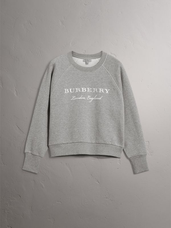 Embroidered Cotton Blend Jersey Sweatshirt in Pale Grey Melange - Women | Burberry United Kingdom - cell image 3