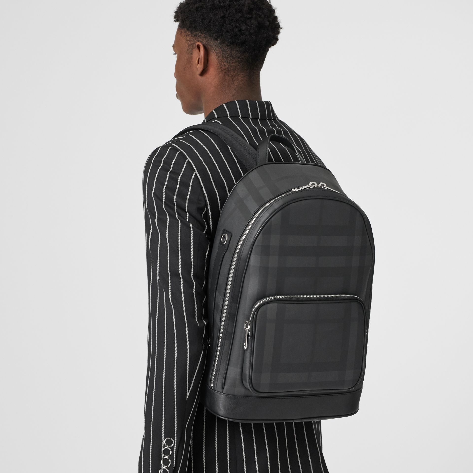 London Check and Leather Backpack in Dark Charcoal - Men | Burberry Hong Kong S.A.R - gallery image 2