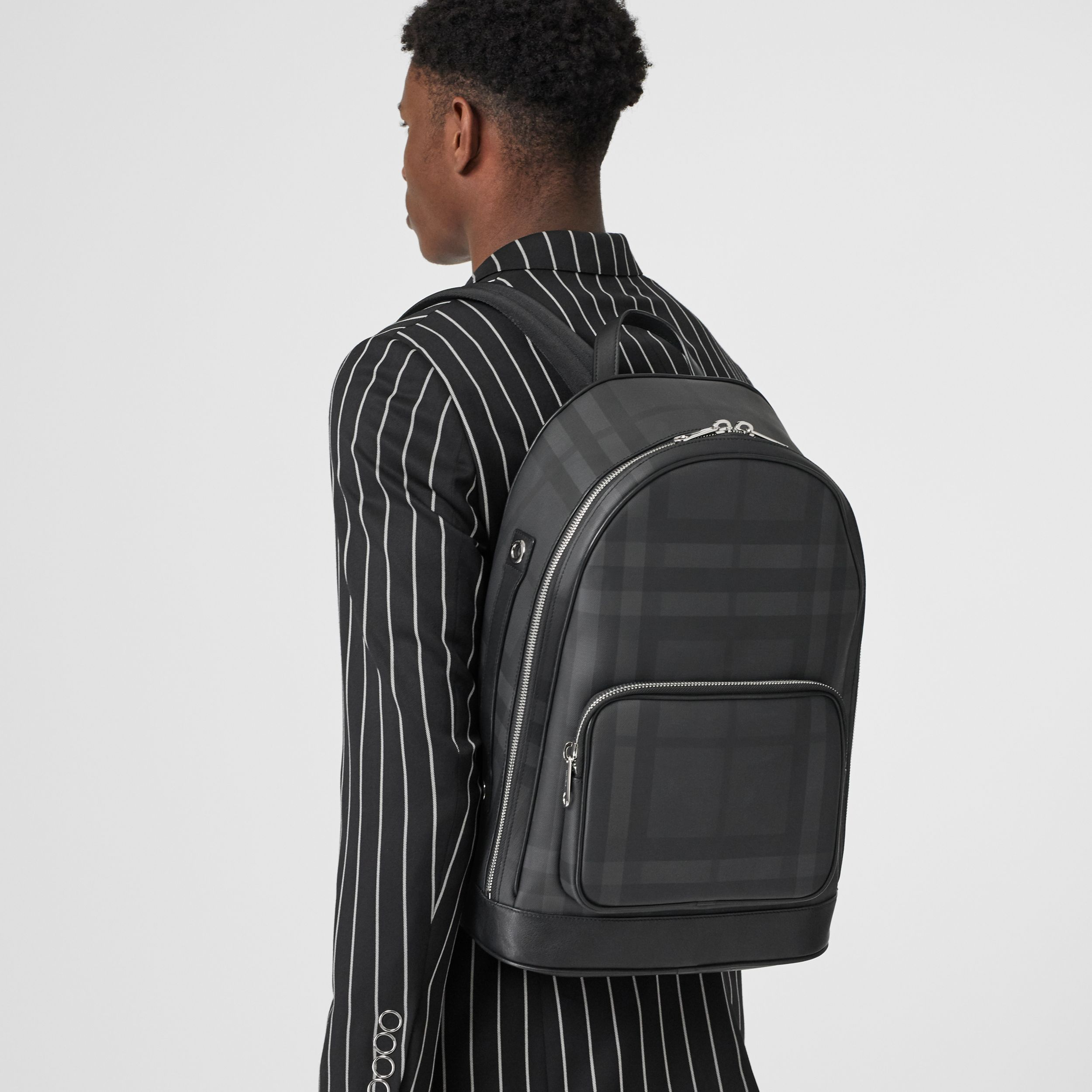 London Check and Leather Backpack in Dark Charcoal - Men | Burberry - 4