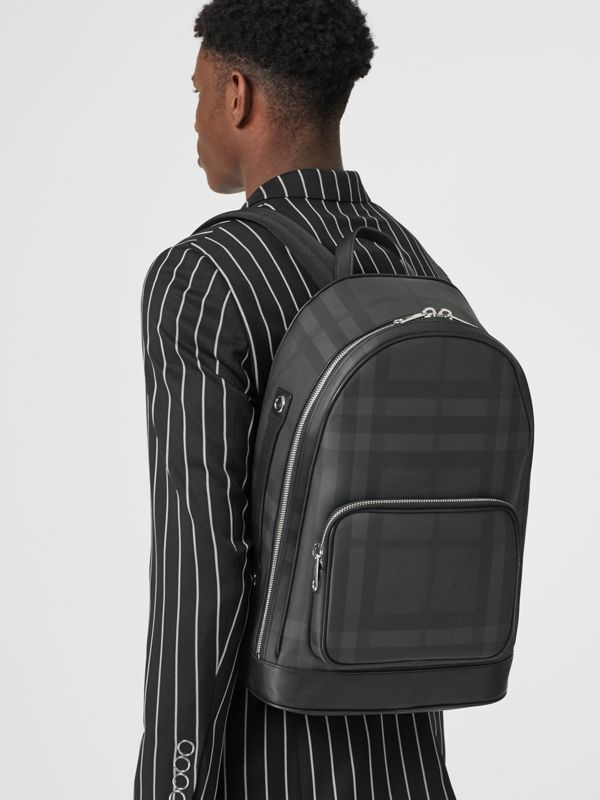 London Check and Leather Backpack in Dark Charcoal - Men | Burberry Hong Kong S.A.R - cell image 2