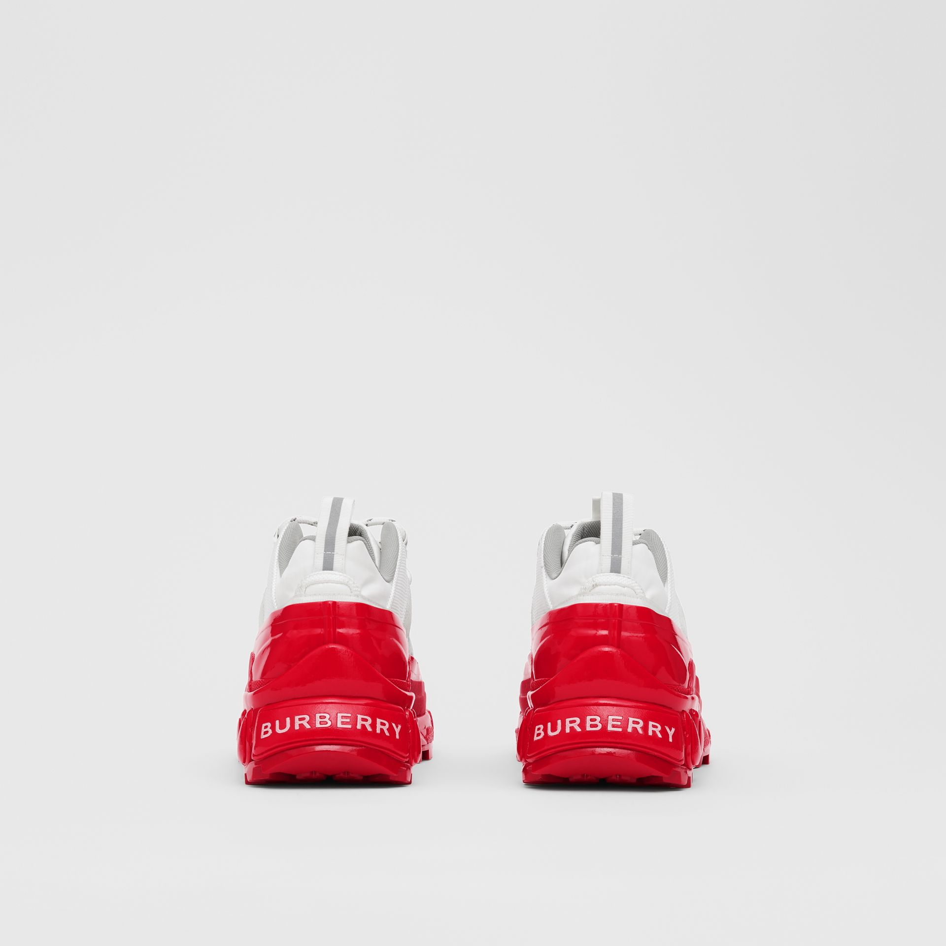 Nylon and Suede Arthur Sneakers in White/red - Women | Burberry United States - gallery image 4