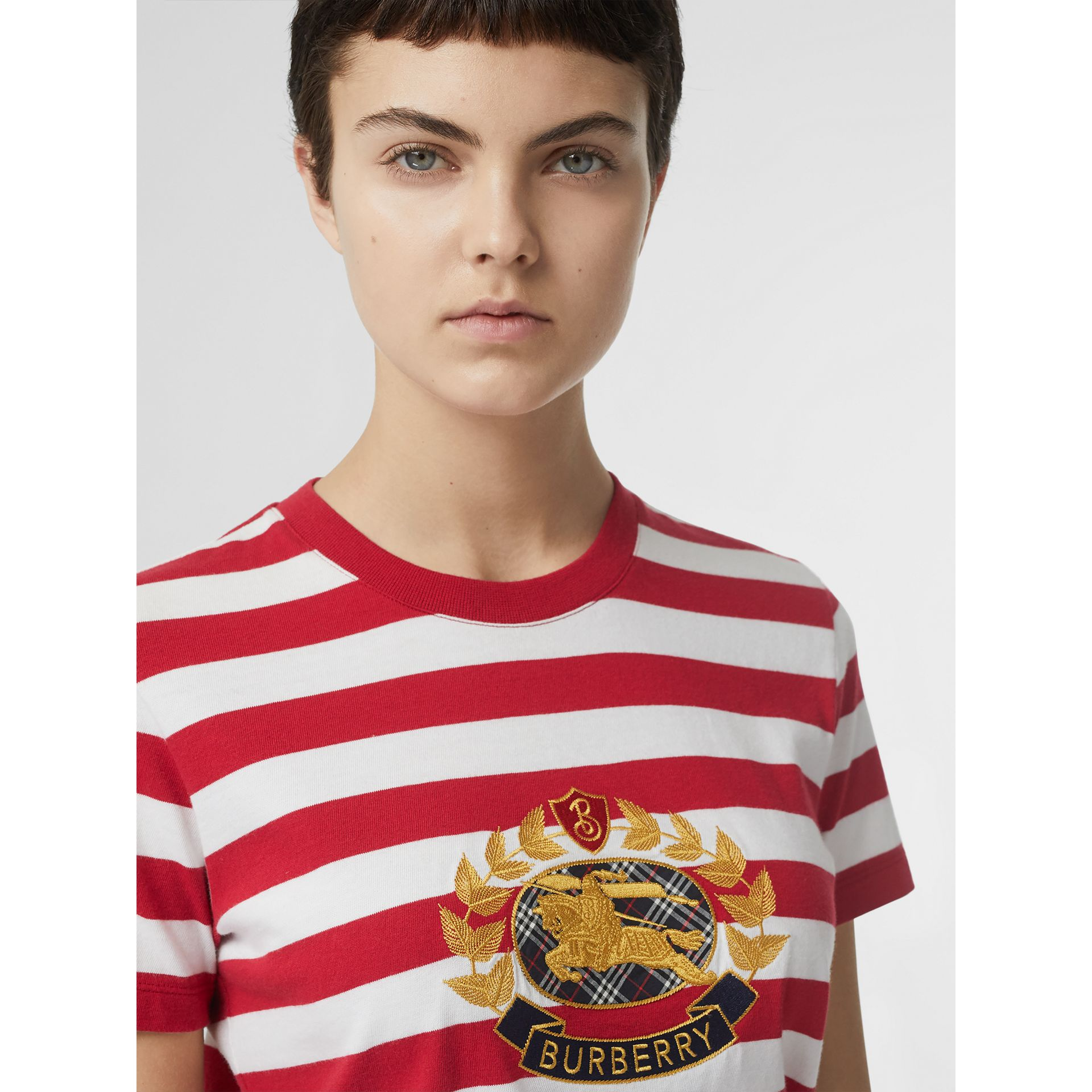 Crest Appliqué Striped Cotton T-shirt in Cadmium Red - Women | Burberry Canada - gallery image 1