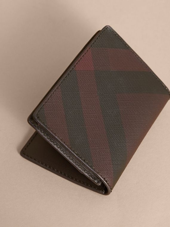 London Check and Leather Folding Card Case Deep Claret - cell image 2