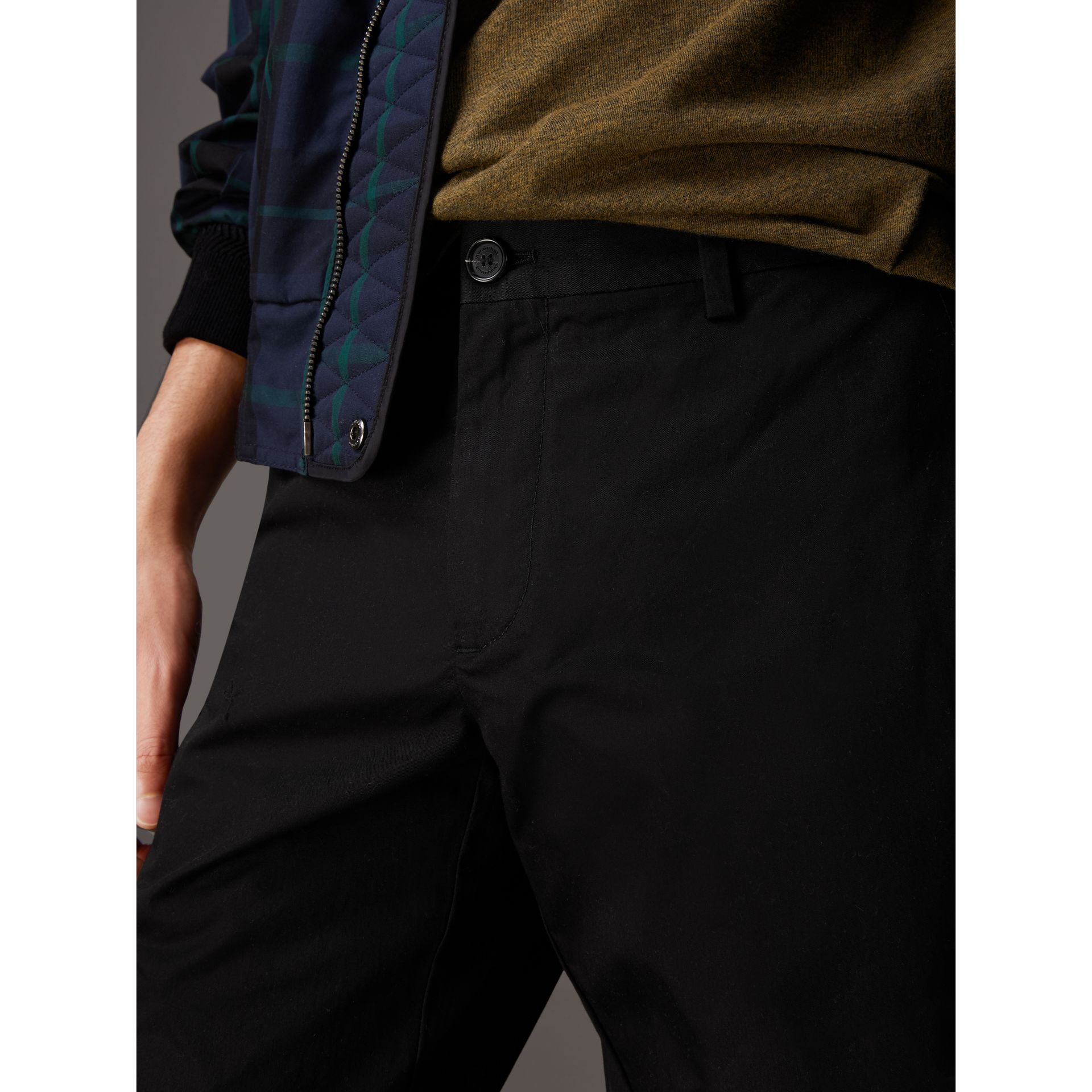 Slim Fit Cotton Chinos in Black - Men | Burberry - gallery image 1