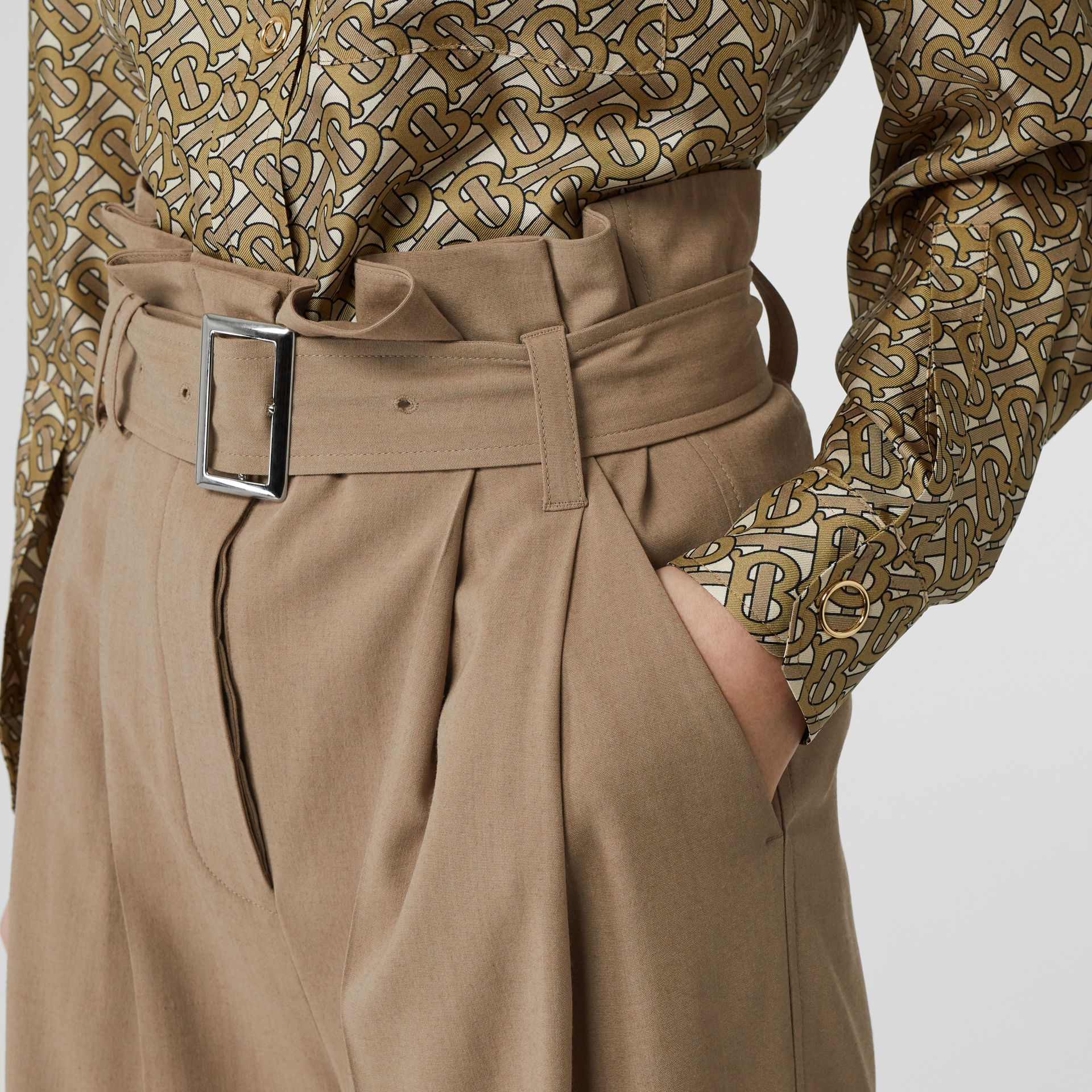 Wool Blend High-waisted Trousers in Warm Taupe - Women | Burberry - gallery image 5