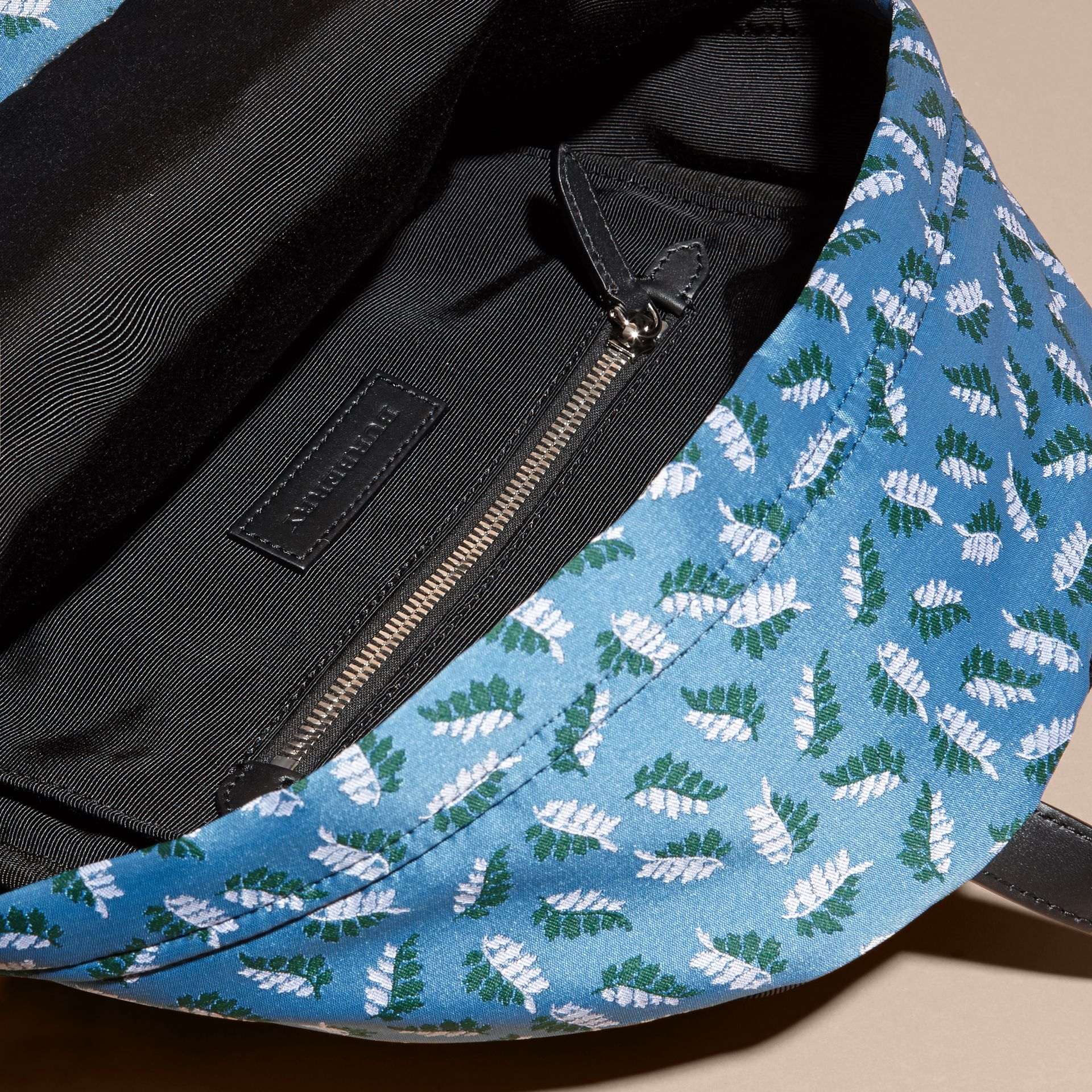 Deep cerulean blue leaf Leaf Jacquard Backpack - gallery image 5