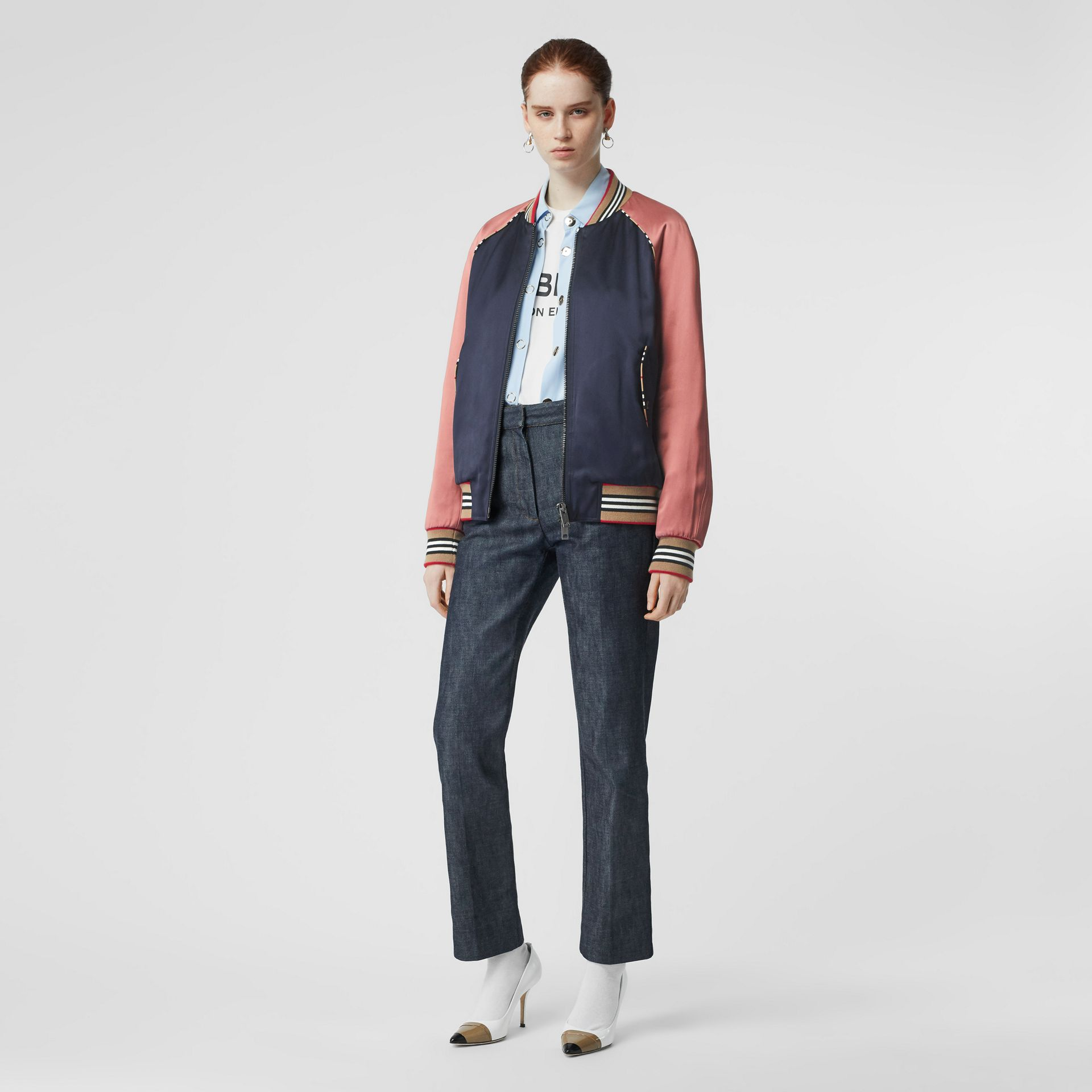 Icon Stripe Detail Monogram Motif Bomber Jacket in Navy/pink - Women | Burberry - gallery image 0