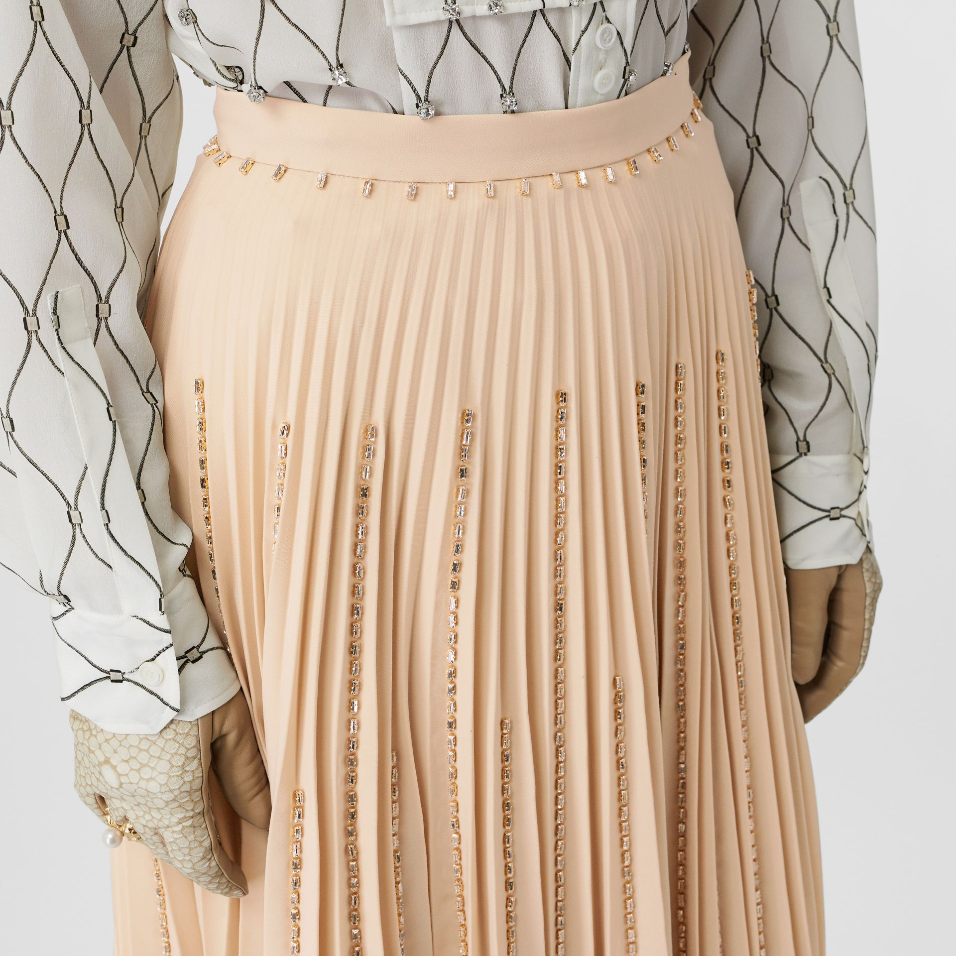 Crystal Detail Plissé Soleil Stretch Cady Skirt in Sesame - Women | Burberry United Kingdom - gallery image 5