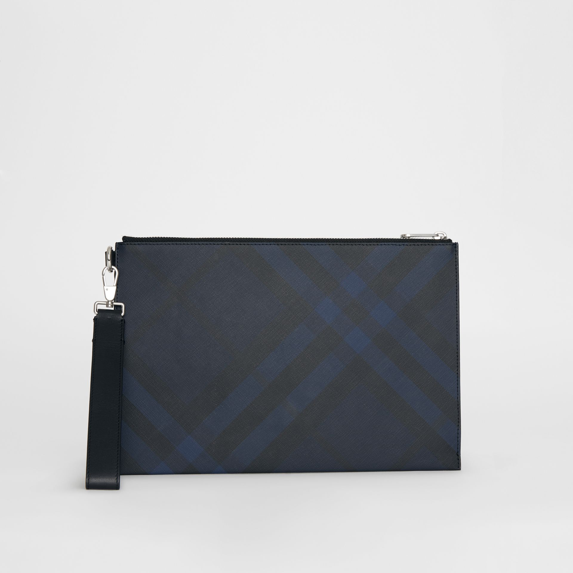 London Check Zip Pouch in Navy/black - Men | Burberry United Kingdom - gallery image 4