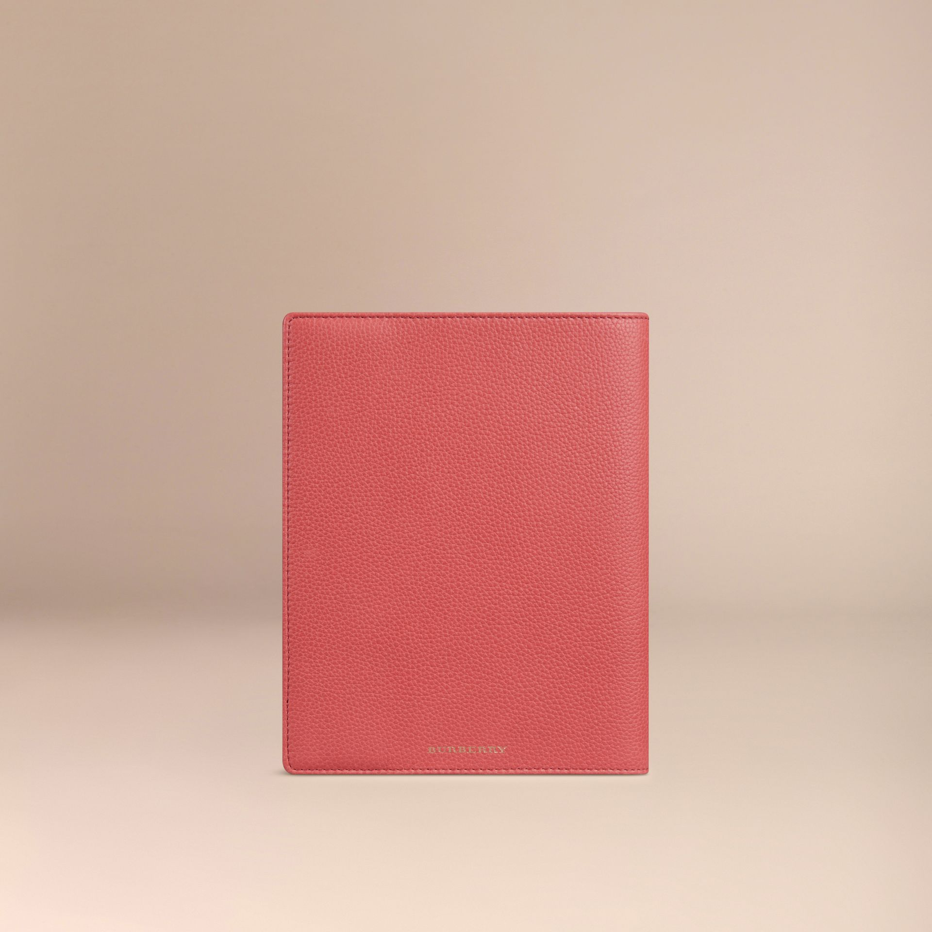 Grainy Leather A5 Notebook in Orange Red | Burberry - gallery image 3