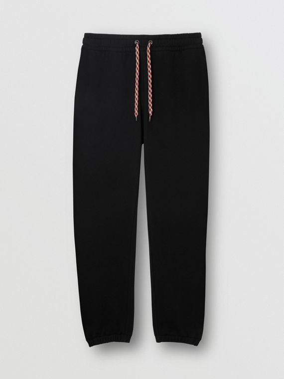 Embroidered Logo Cotton Trackpants in Black