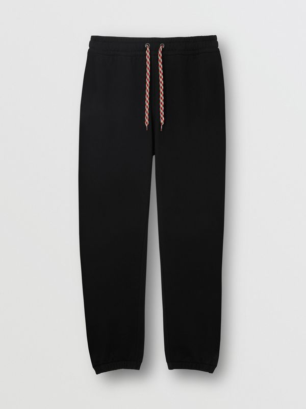 Embroidered Logo Cotton Trackpants in Black - Women | Burberry United Kingdom - cell image 3
