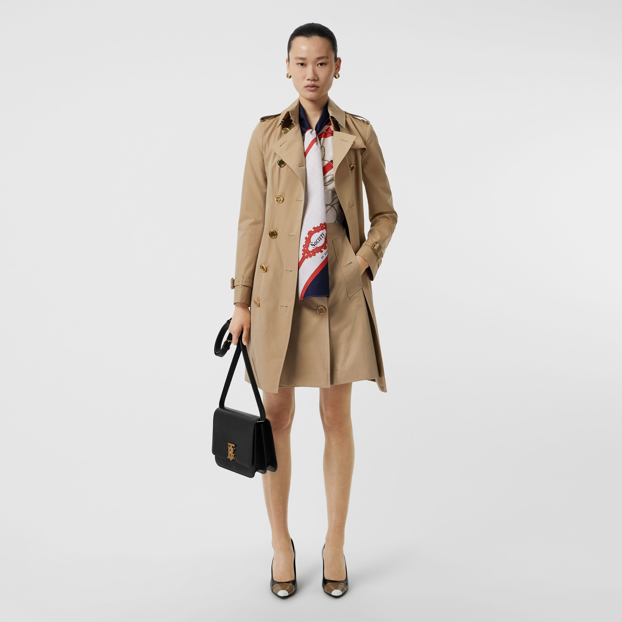 Gold Button Cotton Gabardine Trench Coat in Honey - Women | Burberry Hong Kong S.A.R. - 1