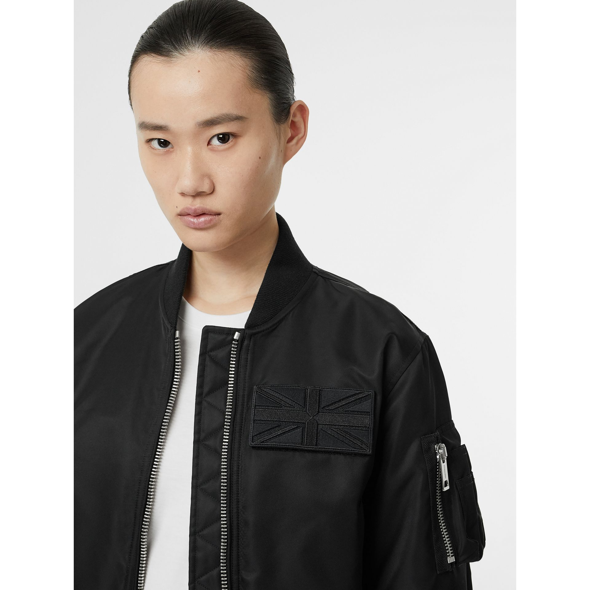 Union Jack Motif Nylon Bomber Jacket in Black - Women | Burberry - gallery image 1