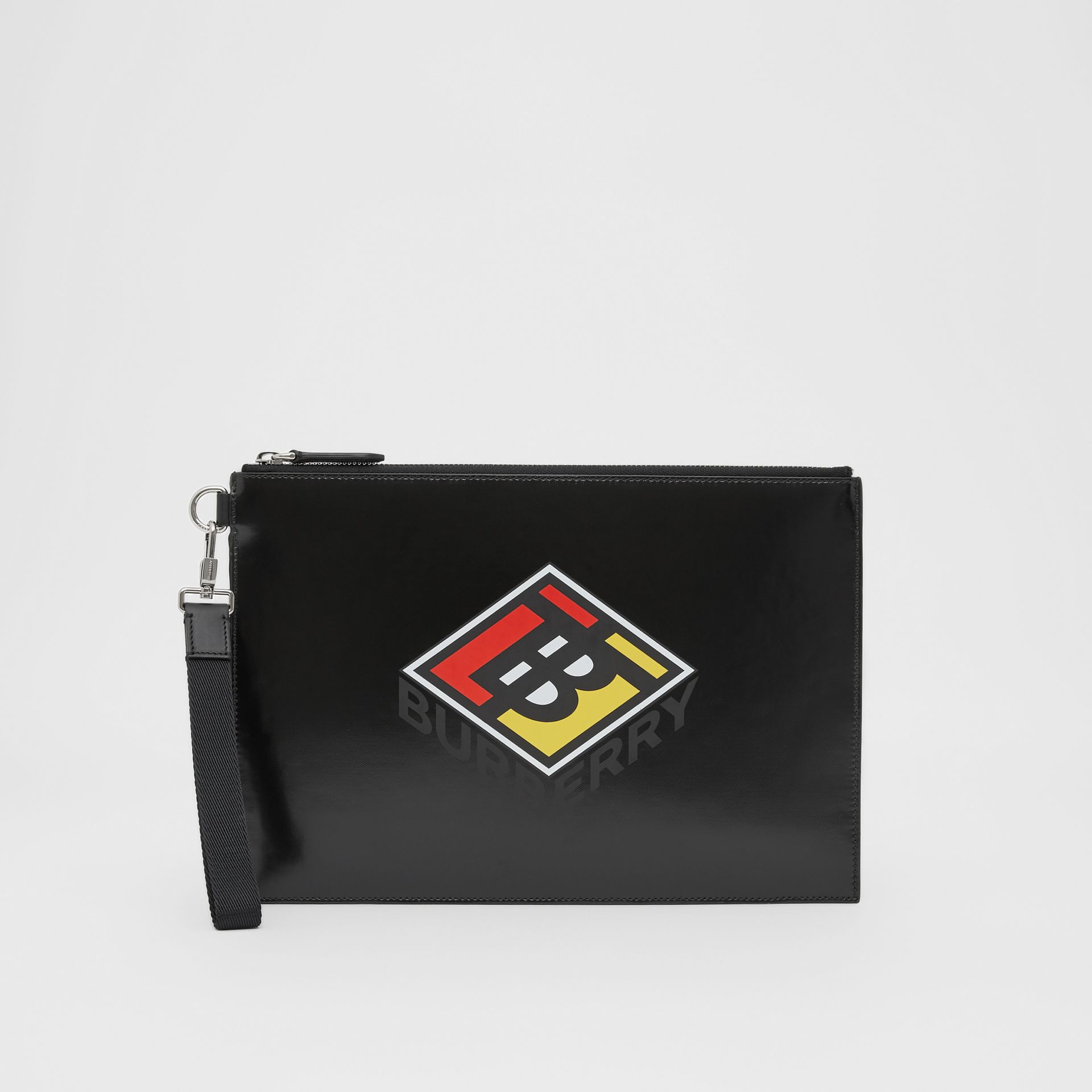 Logo Graphic Canvas Zip Pouch in Black | Burberry - gallery image 0