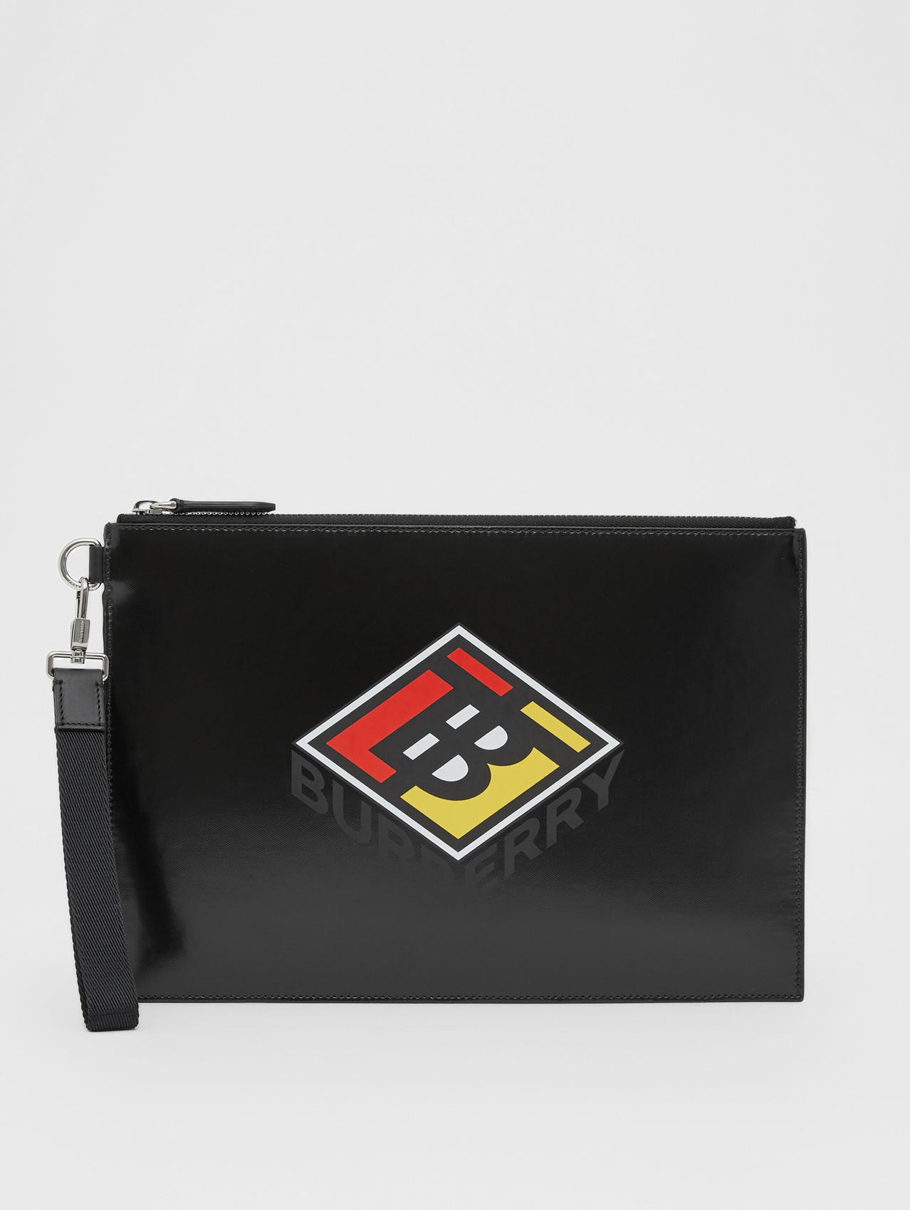 Logo Graphic Canvas Zip Pouch in Black