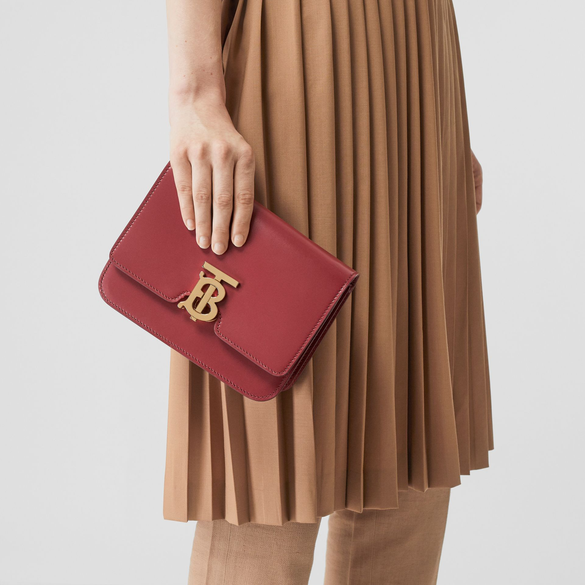 Small Leather TB Bag in Crimson - Women | Burberry United Kingdom - gallery image 2